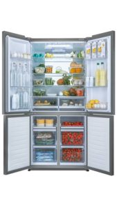Haier, frigo multiportes, inox, design de cube, éclairage tower led, super flexible, frigo, congélateur, switch zone