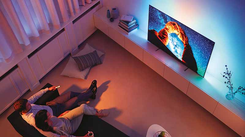 Philips, 803 oled-tv, images 4K uhd, Ambilight, DTS-HD Premium-suite audio, Android TV