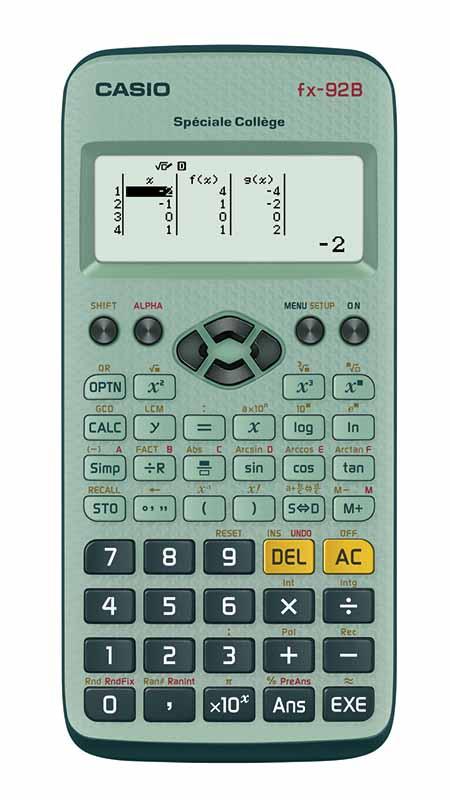 Casio fx-92B Spéciale college, fonctions standard, décomposer en facteurs premiers, calculer le plus grand commun diviseur, plus petit commun multiple, fonctions trigonométriques inversées