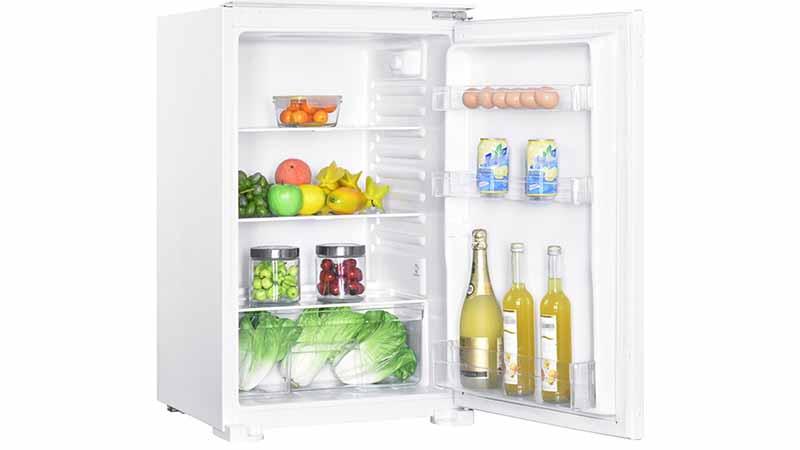 Proline, PLI 135-F-2, frigo encastrable compact, grand tiroir à légumes, 3 balconnets dans la porte, éclairage lED, consomme peu d'énergie