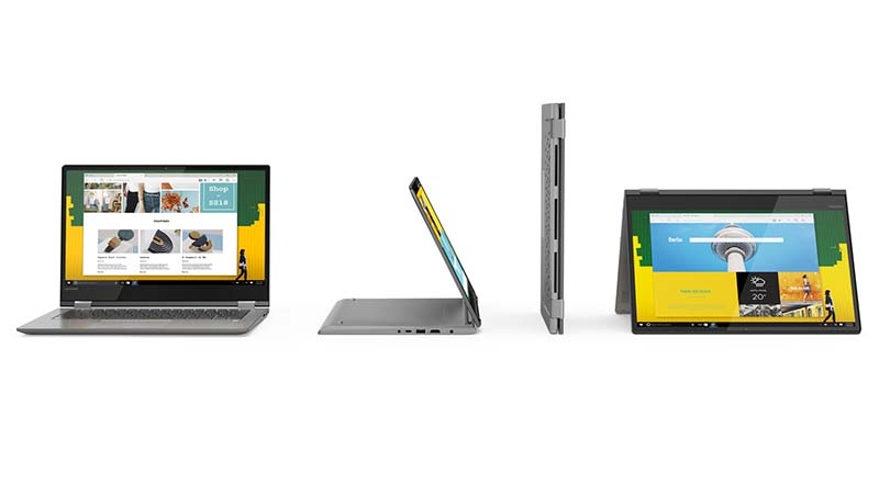 Lenovo, Yoga 530, tablette, pc portable, charnière pivotant à 360°, onyx black, mineral grey, liquide blue, technologie de détection de la paume, sensations naturelles, batterie